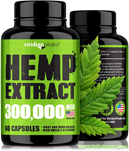Hemp Extract Capsules 300,000-100% Grown & Made in USA - Immune Support - Omega 3-6-9 Source - Insomnia Relief & Mood Boost