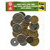 20 monete esotiche provenienti da Asia, Medio Oriente, Africa, Oceania, Sud America. Monete da collezione, vecchie monete per album di moneta, moneta bancaria o supporti della moneta