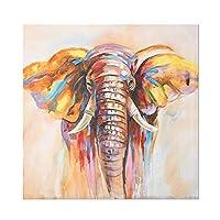 DIHEFA動物水彩象の壁アートポスターとキャンバスにモダンな抽象的な油絵を印刷リビングルームの装飾的な写真 40x40cmフレームなし