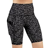ODODOS High Waist Out Pocket Yoga Short Tummy Control Workout Running Athletic Non See-Through Yoga Shorts,SpaceDyeMattBlack,Medium