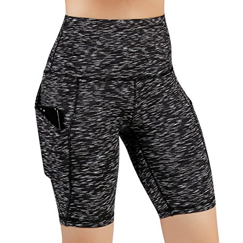 """ODODOS Women's Out Pockets High Waisted Workout 9"""" Shorts, Yoga Athletic Cycling Hiking Sports Shorts, Plus Size,SpaceDyeMattBlack,XX-Large"""