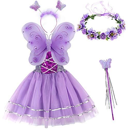 Tacobear 5 Stück Feenkostüm Kinder mit Feenflügel Feenkleid Blumenkranz Haare Schmetterling Fee Haarreif Haarband Feen Zauberstab Halloween Party Prinzessin Fee Kostüm Zubehör für Mädchen (Lila)