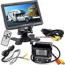 Pantalla HD LCD TFT para coche, de 7 pulgadas, 12-24 V + cámara de 18 LED, visión nocturna, resistente al agua, visión trasera, con cable de 10 metros