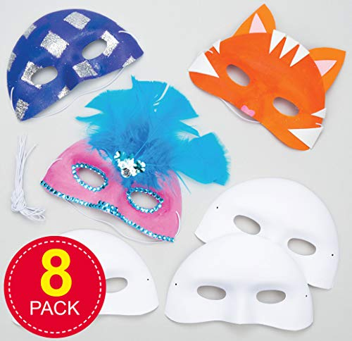 Baker Ross Flocked Plastic Eye Maskers voor kinderen om te schilderen Versieren en te dragen als onderdeel van een kostuum op een mooie jurk Party (Pack van 8)