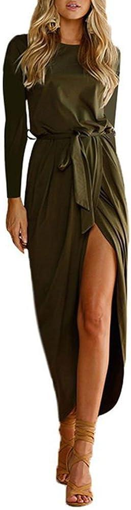 Women's Slinky Long Dress with Belt Side Split Slim Evening Maxi Party Dress