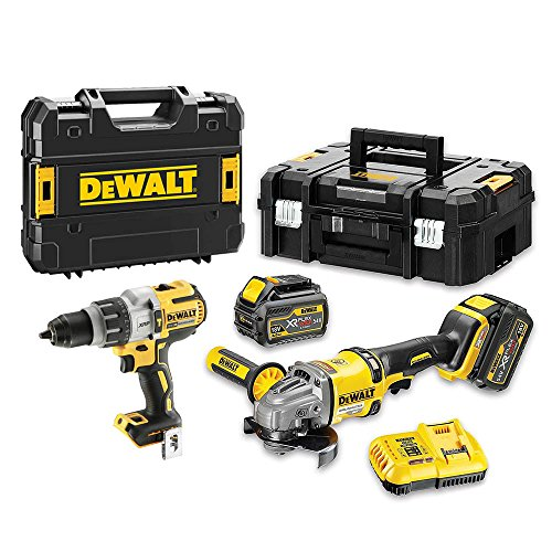 DeWalt DCK2055T2T-QW DCK2055T2T-QW-KIT XR FLEXVOLT = DCD996 Taladro Percutor 18V XRP + DCG414 Amoladora 125mm 54V + 2 baterías 54V/18V Li-Ion 6,0Ah + Maletines TSTAK, 18 V