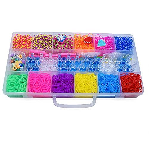 SMYUI DIY Kit de bandas de goma para telar, para manualidades, tejido para niños en estuches de almacenamiento (12 rejillas ordinarias, 1800 piezas)
