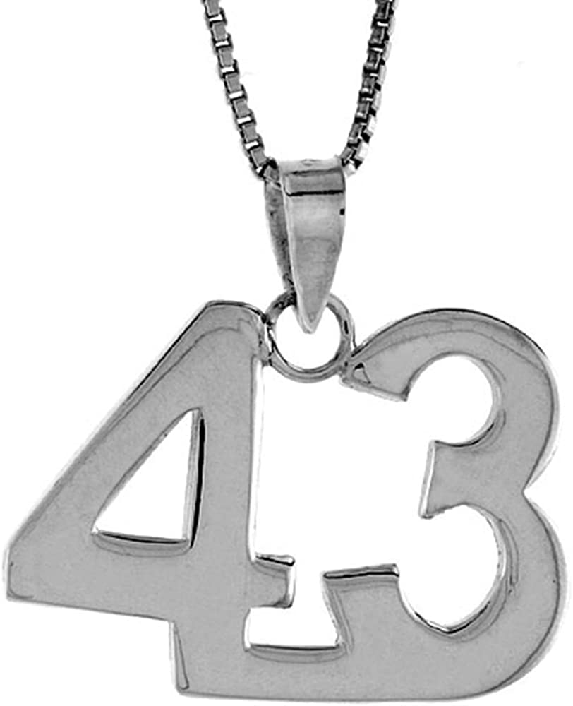 Sterling Silver Number 43 Necklace 定価の67%OFF for 高品質新品 Jersey Numbers Recovery