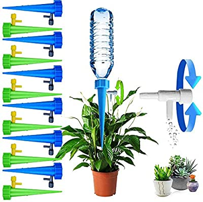 Plant Self Watering Spikes Indoor Outdoor Plastic Bottle Garden Plant Drip Irrigation Automatic Device Spike System Plants Watering Bulbs Globes with Drip Adjustable Control Valve 12 Pack by SeBeauty