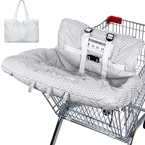 Yoofoss Shopping Cart Cover for Baby & Toddler, 2-in-1 High Chair Cover with Safety Harness, Universal Fit, Soft Grocery Cart Covers for Baby Boy Girl