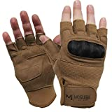 Tactical Half Finger Hard Knuckle Gloves, Fingerless Glove, Combat Training Gear, Hunting Paintball Outdoor Sports (Large, Coyote)