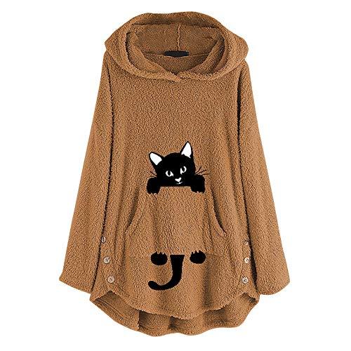 YANFANG Sudadera con Capucha para Mujer Abrigo Chaqueta Caliente y Esponjoso Flannel Tipo Manta Mujeres Fleece Bordado Oreja de Gato Tallas grandesBolsillo Superior Suéter Blusa