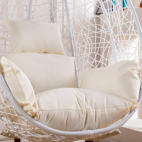 N /A Chaise en rotin, coussin de hamac, coussin suspendu, coussins de chaise nidique, coussins de siège épais, imperméables, amovibles et lavables, dossier sans chaises, blanc