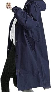 Macondoo Womens Loose Hoodie Outwear Plus Size Waterproof Trenchcoats