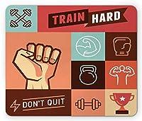フィットネスマウスパッド、ジムクロスフィットトレーニングの達成勝利の強さの決定フレーズをやめないでください、標準サイズの長方形滑り止めラバーマウスパッド、マルチカラー