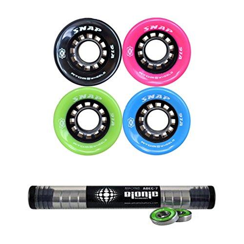 Atom Snap Indoor Outdoor Skate Wheels with Bionic Bearings 8mm Full Set of 8 - Blue