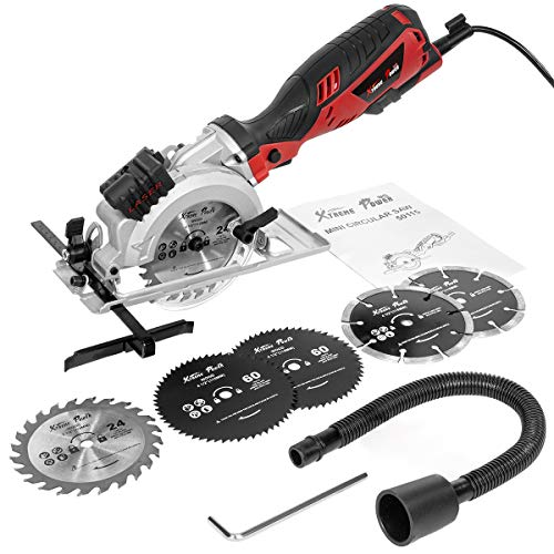 XtremepowerUS Electric Circular Saw Compact Saw with 6 Saw Blade (4-1/2