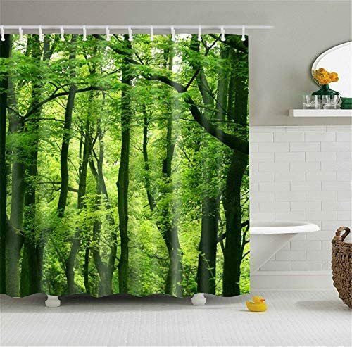 HSCC Fresh Green Rain Forest Tropical Scenic Wild Nature Reserve Scene Bathroom Shower Curtain product image