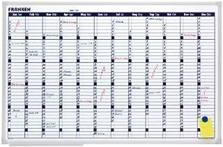 Franken VO-12 - Mural magnético de planificación anual (900 mm de anchura, 600 mm de altura, recuadros de 580 x 140 mm por día)