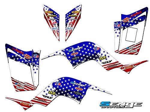 Senge Graphics Kit compatible with Yamaha All Years Raptor 90, Merica USA Graphics Kit with blank number plates