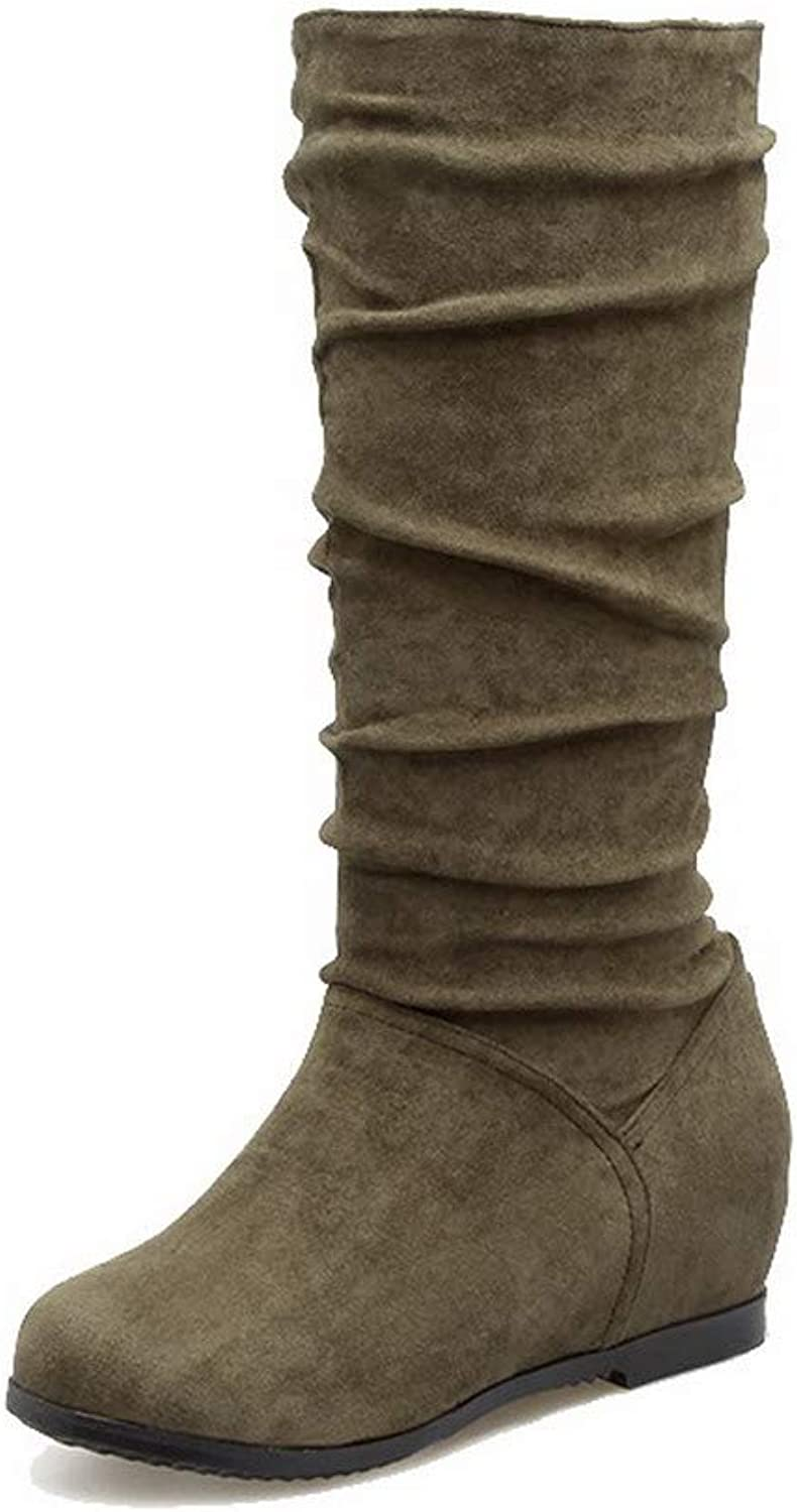 AllhqFashion Women's Kitten-Heels Imitated Suede Mid-Calf Solid Pull-On Boots, FBUXD118525