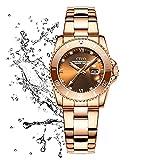 CIVO Reloj Mujer Oro Rosa Acero Inoxidable Relojes Impermeables...