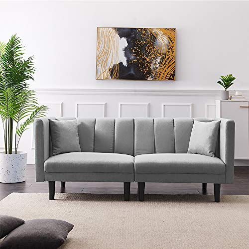 Convertible Futon Sofa Bed, Twin Size Sleeper Sofa with Detachable Armrest and 2 Pillows, Living Room Sofa with 8 Legs, Velvet Loveseat Sofa, 3 Angle Adjustable Recliner Sofa Couch (Light Grey)