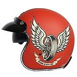 Vintage Abierto Casco Moto Certificado ECE Casco de Medio Moto para Hombres y Mujeres Jet Casco de Motocicleta Estilo Retro Casco De Bicicleta Casco De Moto B,XL