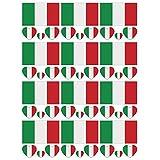 SpringPear 12x Temporär Tattoo von Flagge Italien für Internationale Wettbewerbe Olympischen Spiele Weltmeisterschaft Wasserfeste Fahnen Tätowierung Flaggenaufkleber Fan Set (12 Pcs)