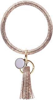 Keychain Leather Bracelet Key Ring Bangle Tassel Large Circle Wristlet Keychain holder free your hands for Women and Girls