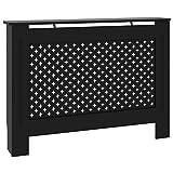 Tidyard Cubierta para Radiador Cubre Radiador Mueble para Radiador Moderno MDF Negro 112 x 19 x 81 cm