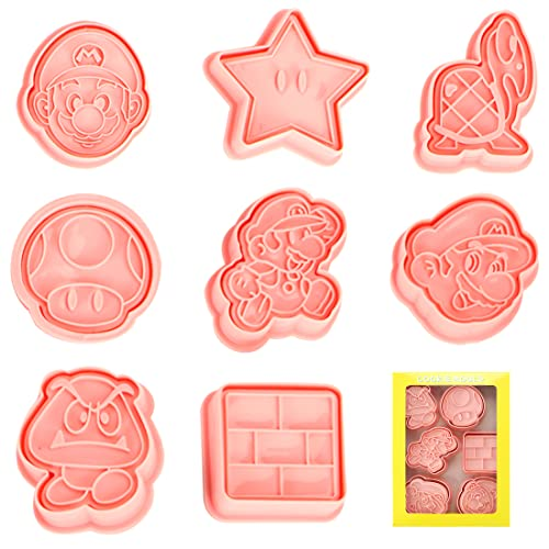 Super Mario Keksausstecher, 8 PCS Cookie Cutter, Plätzchen Ausstecher, Plätzchenform Tiere, keksform, Fondant Ausstechformen, Ausstecher Brot und Gemüse kinder, Sandwich Cutter