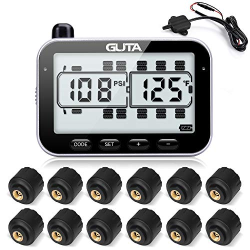 RV Tire Pressure Monitoring System, RV TPMS, 6 Sensors, 7 Alarm Modes, 14 Days Battery Life, 80ft Sensing Distance, Large Screen, for RV, Trailer, Coach, Motor Home, Fifth Wheel, (0-188psi) (-4~ 185℉)