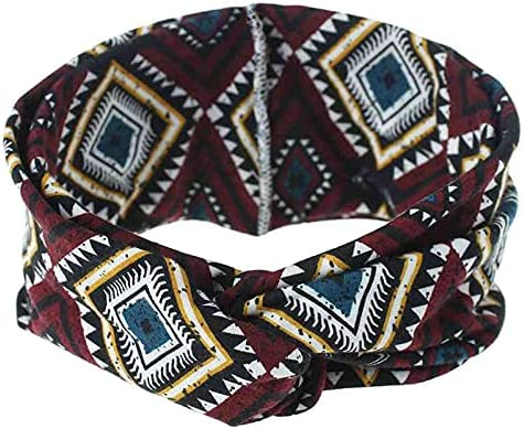 YUANBOO Bohemian Headband Print Cross Knot Headbands for Women Wide Cotton Stretch Hair Band Lady Hair Accessories (Color : Wine red Style 1)