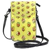 Billetera amarilla del monedero del teléfono celular del patrón de la flor para las mujeres de la muchacha pequeño bolso