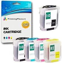 Printing Pleasure 5 Compatibles HP 10/82 XL Cartuchos de Tinta Reemplazo para HP DesignJet 500 500m 500+ 500ps 500ps+ 800 800ps 815mfp 820mfp cc800ps - Negro/Cian/Magenta/Amarillo, Alta Capacidad