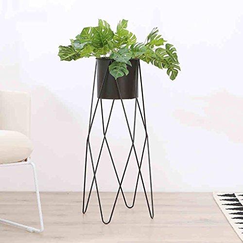 étagère de Rangement Cadre de Fer Minimaliste Noir Fleur présentoir Simple Moderne Design de Mode pour Votre intérieur décoration de Salon extérieur 32 * 75cm Support en Bois Massif