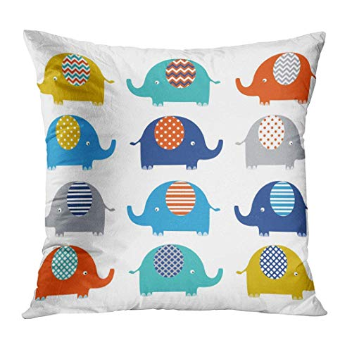 phjyjyeu Throw Pillow Cover Dot Chevron Colorful Cute Elephant Collections Lovely Nursery Home Decor Square Cushion Pillowcase (Two Sides) 18\ X 18\(IN)