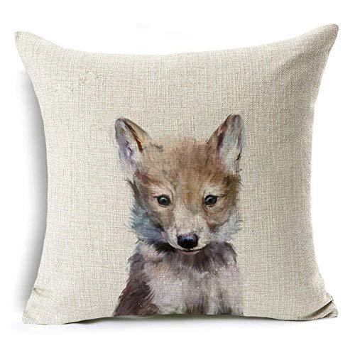 Funda de Cojín Ropa de Cama Cuadrado con la Cremallera Invisible Funda de Almohada del Sofá Decorativos para Cama Coche Hogar Coyote Blanco Sin Relleno 45x45cm