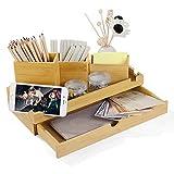 Organiseur de bureau en bambou - 3 pots à crayons - Boîte de rangement de bureau - Tiroirs -...