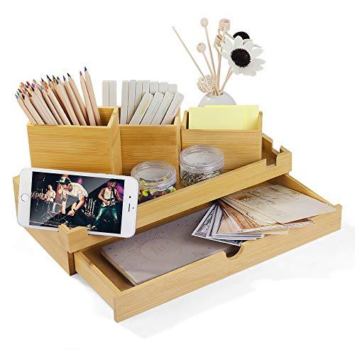 Organizador bambú de contenedor de papelería oficina organizador de almacenamiento con cajones de escritorio para la escuela cosas, suministros de oficina