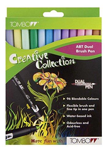 Tombow ABT-12C-2 Fasermaler Dual Brush Pen mit zwei Spitzen, 12-er Set, pastellfarben