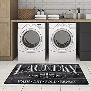 Lacomfy Laundry Room Rug Runner and Mats Non Slip Natural Rubber Backing Standing Cushion Kitchen Mat Vintage Wood Print Floor Area Rug 2×4