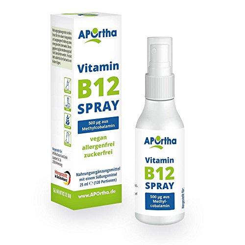 APOrtha® Vitamin B12 Spray B12 I Hochwertig - hergestellt in Europa I ergiebig mit bis zu 120 Anwendungen I 500 µg Methylcobalamin I B12 vegan I B 12 Vitamin Mundspray mit B12 hochdosiert