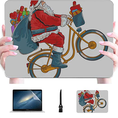 Mac 15 Inch Case Funny Cute Bicycle Santa Plastic Hard Shell Compatible Mac Air 13' Pro 13'/16' Macbook Air 13 Accessories Protective Cover For Macbook 2016-2020 Version