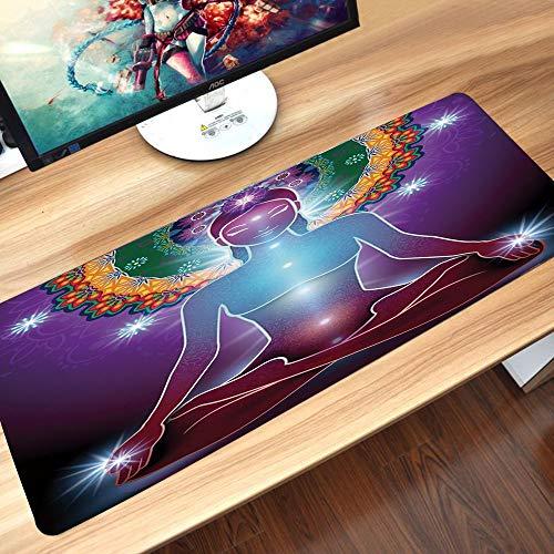 Alfombrilla goma antideslizante para ratón, Yoga, Paz Interior Kundalini Yantra Gurú Místico de la Energía Oriental Concie,ratón de goma antideslizantes con Designs para gamer y Office trabajo60x35 cm