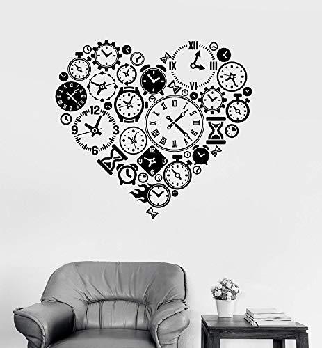 Vinyl Wandaufkleber Herzform Uhr Uhr Logo Abziehbilder Zeit Liebe Steampunk Nummer Uhrmacher Unternehmenskultur Schlafzimmer Home Decoration Kunst Wandplakat