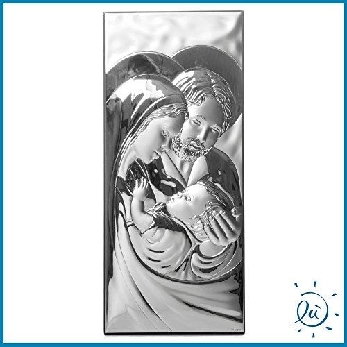 Albalù Italia | Idee regalo e bomboniere Icona Sacra Famiglia Verticale A Filo Argento Laminato Misura 16X35 cm