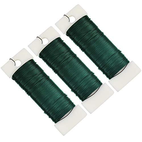 3 Rollos Alambre de Metal Floral Verde, Alambre para Flores, Alambre de...