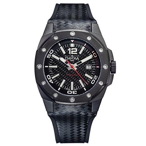 Davosa Swiss - Reloj de pulsera deportivo analógico y resistente al agua con correa de piel y goma de lujo para hombre